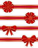 Red bows collection. Set of four red bows Stock Image