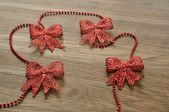 Red bows garland Stock Image