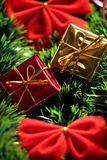 Red bows and presents. New Year's Red bows and presents stock photography