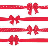 Red bows with ribbons Royalty Free Stock Photography