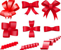 Red bows set Stock Photo
