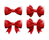 Red bows on a white background. Vector illustration. Stock Photo