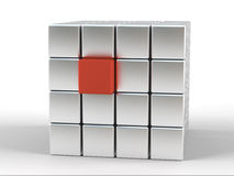 Red box. One colored box in a lot of gray boxes Royalty Free Stock Photo