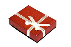 Red box. Red souvenir box white background isolate Stock Photography