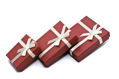 Red box. Three red souvenir boxes white background isolate Royalty Free Stock Image