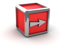 Red box with arrow right Stock Photography