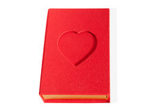 Red box book shape with a heart isolated.  Stock Image