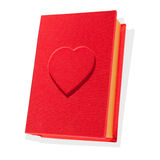 Red box book shape with a heart isolated.  Royalty Free Stock Photography