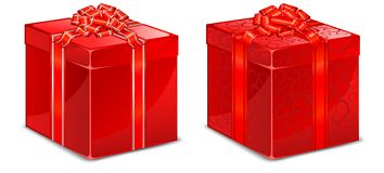 Red box with bow Royalty Free Stock Photos