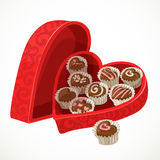 Red box of chocolates in the form of heart Royalty Free Stock Photos