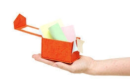 Red box with color sticky notes on women hand Royalty Free Stock Photo
