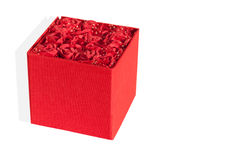 Red box decorated with roses on a white background.  Royalty Free Stock Photography