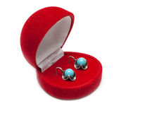 Red box with earring Royalty Free Stock Images