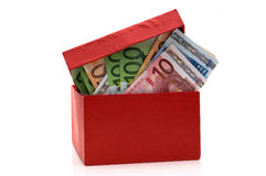 Red box with the euros Stock Photos