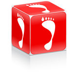 Red box with footprint on it Royalty Free Stock Images