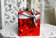 Red box with gift Royalty Free Stock Photography