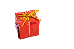 Red box gift with gold bow Royalty Free Stock Images
