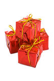 Red box gift with gold bow Royalty Free Stock Photos
