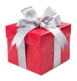 Red box with gift tied with gray bows isolated on white backgrou Royalty Free Stock Image