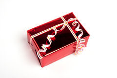 Red box gift. View side. Red box gift. View aside Stock Photography