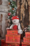 Red box with gifts. And a white teddy bear Royalty Free Stock Photos