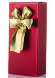 Red box with gold bow Royalty Free Stock Photography
