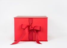Red Box with Grosgrain Ribbon Bow Stock Photos