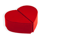 Red box heart shaped on a white background.  Royalty Free Stock Photography