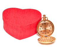Red box hearts with a pocket watch Royalty Free Stock Photography