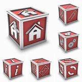 Red box icon set. 3d rendering of silver paper clip, home, gears, info, settings, mail and reload in a red box icon or button (may use for a icon Royalty Free Stock Photos