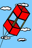 Red box kite flying in the sky vector illustration. Vector illustration of a red box kite flying in the sky with clouds in the background Stock Images