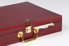 Red box and money. Red wooden box with the money Royalty Free Stock Photography