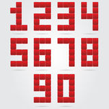Red box numbers set. Stock Images