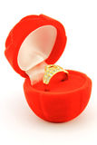 Red box open with engagement ring Royalty Free Stock Image