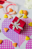 Red box with present for Valentine's day Royalty Free Stock Photo