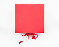 Red Box with Ribbon Closure, Top View Stock Photography