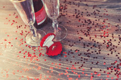 A red box with a ring, marriage proposal, Valentines Day, wine, romantic atmosphere Stock Image