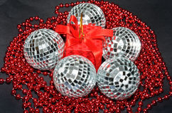 Red box and silver baubles with beads Royalty Free Stock Photos