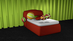 Red box spring on black carpet floor. In front of apple green curtains with softballs and pillows. 3d rendering vector illustration