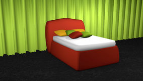 Red box spring with cushions. In front of an apple green curtain on black carpet floor stock illustration