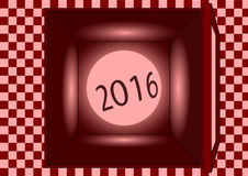 Red box 2016. There is red box and sphere in its Royalty Free Stock Photos