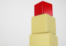 Red box at top showing leader concept. Red box showing leader, 3d cubes stack concept Royalty Free Stock Image