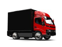 Red box truck with black trailer. Isolated on white background Stock Photo