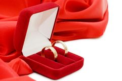 Red box with two gold wedding rings Royalty Free Stock Photos