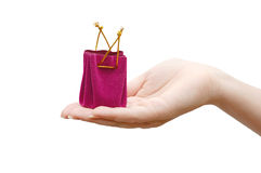 Red box under a jewel in a hand Stock Image