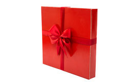 Red Box With A Bow Isolated Royalty Free Stock Photos