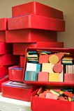 Red boxes. With a teaching material for schoolboys royalty free stock image