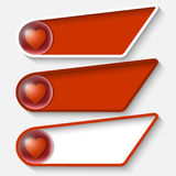 Red boxes for any text and heart. Set of three red boxes for any text and heart Stock Illustration