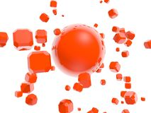 Red boxes flying around red sphere Stock Photography