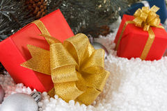 Red boxes with gold ribbon in snow  under pine tree Stock Image